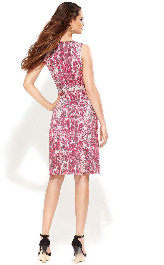 INC International Concepts Petite Dress, Sleeveless Faux-Wrap Snake-Print