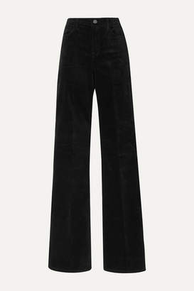 J Brand Valentina Cotton-blend Velvet Flared Pants - Black