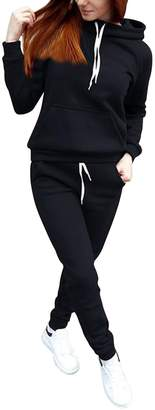 Miss Cat Misscat Women's Athletic Pullover Hoodie+Pant Tracksuit Sport Sweat Suit Set