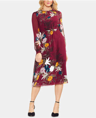 Vince Camuto Shirred Floral-Print Dress