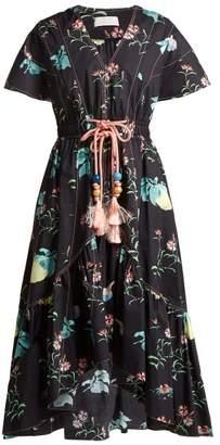 Peter Pilotto V Neck Floral Print Cotton Dress - Womens - Black Multi