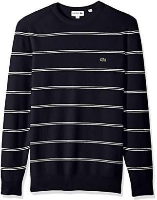 Lacoste Men's Long Sleeve Stripes Half Cardigan Rib Sweater
