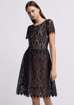 Emporio Armani Dress In Geometric Macrame With Contrasting Petticoat