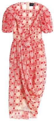 Simone Rocha Draped Embroidered Cotton-Blend Tulle Midi Dress