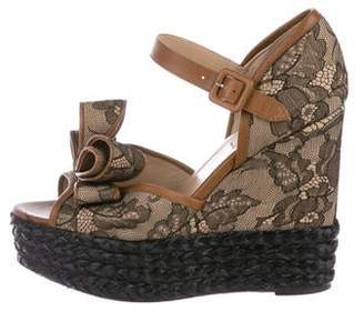Valentino Lace Bow Wedges