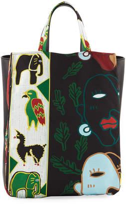 Carven Faces Printed Tote Bag