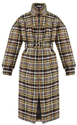 Miu Miu Oversized Wool Blend Tweed Coat - Womens - Brown Multi