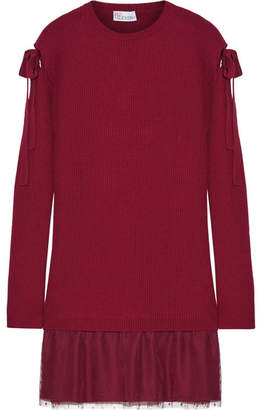 REDValentino - Ribbed Wool And Point D'esprit Tulle Mini Dress - Merlot $475 thestylecure.com