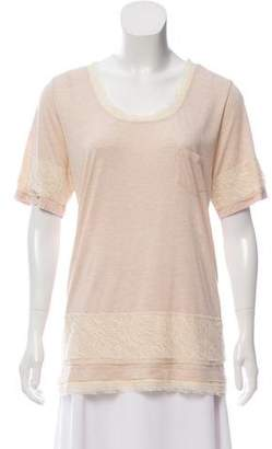 Diane von Furstenberg Bathe Lace Trim T-Shirt w/ Tags