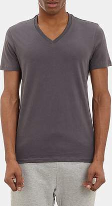Barneys New York MEN'S V-NECK T-SHIRT - CHARCOAL SIZE XL