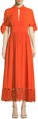 Lela Rose Textured Silk Cloque Tie-Sleeve Dress with Embroidered Lace Hem
