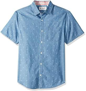 Original Penguin Men's Short Sleeve Chambray Dobby Cotton Shirt