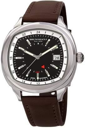 Bruno Magli Men's Enzo Swiss Ronda Quartz 515 Leather Strap Watch, 42mm