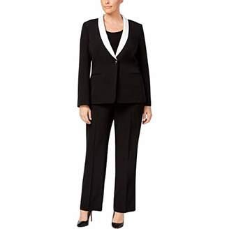 Tahari by Arthur S. Levine Women's Plus Size Black Crepe One Button Pant Suit