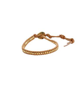 Chan Luu Gold Beads on Henna Leather Bracelet
