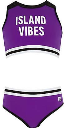 River Island Girls purple 'Island vibes' crop tankini