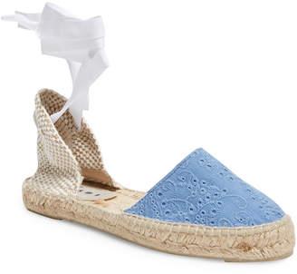 Manebi Embroidered Wrap Around Espadrille Sandal