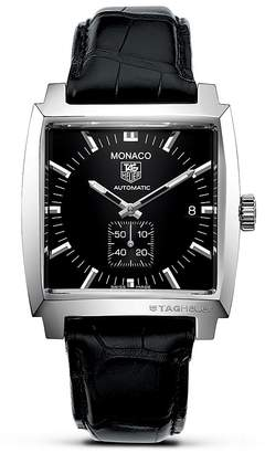 "Tag Heuer Monaco"" Square Watch with Alligator Strap, 37mm"