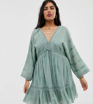 Asos DESIGN Curve lace insert mini smock dress with lace up detail