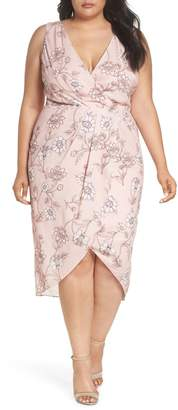 Cooper St Fiorella Floral Drape Sheath Dress (Plus Size)