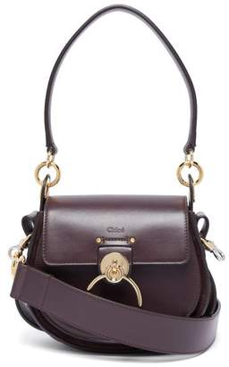Chloé Tess Small Leather And Suede Cross Body Bag - Womens - Burgundy