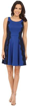 Jessica Simpson Scuba Fit and Flare Dress with Lace Women's Dress