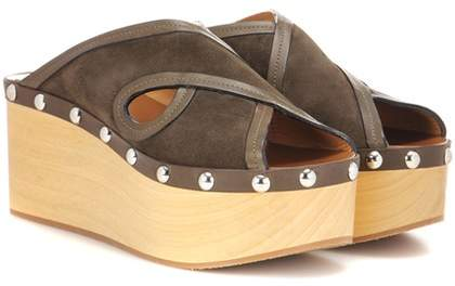 d9d8b93555 Isabel Marant Zipla suede and wood sandals - ShopStyle
