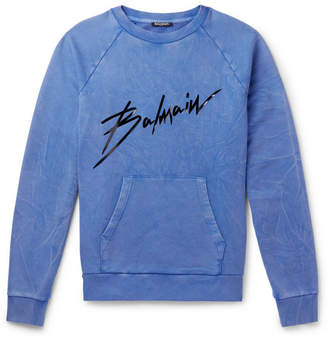 Balmain Logo-Print Washed Cotton-Jersey Sweatshirt