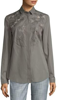 Akris Women's Sunburst Cotton Button-Down Shirt