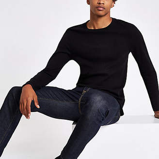 River Island Black ribbed slim fit long sleeve T-shirt