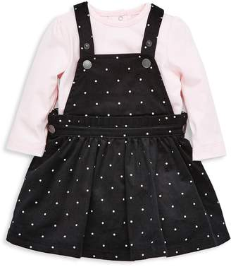 Little Me Baby Girl's 2-Piece Cotton Top Pindot Jumper Dress Set