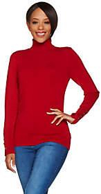 Susan Graver Rayon Nylon Turtleneck Sweater w/Button Detail