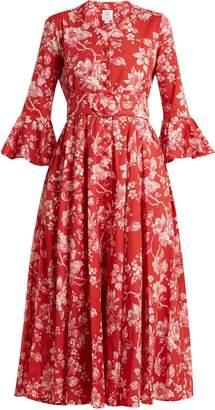 GÜL HÜRGEL Belted bell-sleeve floral-print cotton dress