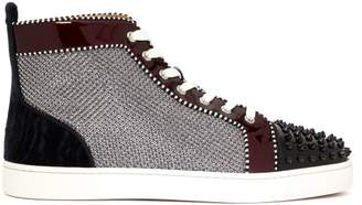 Christian Louboutin - Lou Spikes Leather High Top Trainers - Mens - Silver Multi