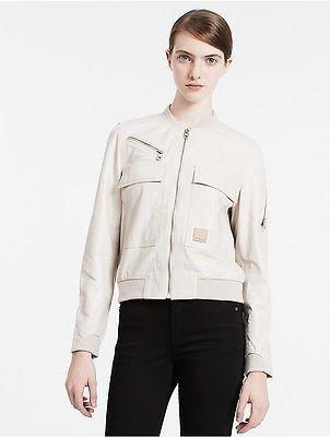 Calvin KleinCalvin Klein Womens Modern Surplus Leather Flight Bomber Jacket