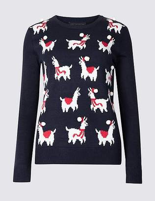 Marks and Spencer Llamas Round Neck Christmas Jumper