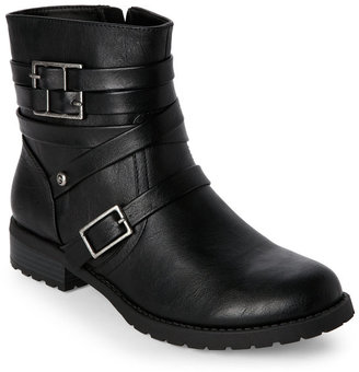 g by guess Black Hanna Low Heel Biker Boots $80 thestylecure.com