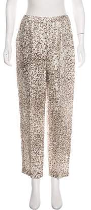 Ellen Tracy Linda Allard Linen Printed High-Rise Straight-Leg Pants w/ Tags