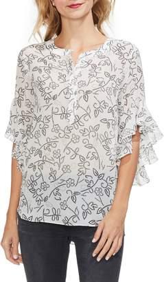 Vince Camuto Flutter Sleeve Floral Henley Shirt