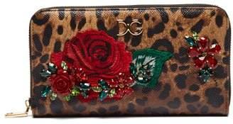 Dolce & Gabbana Leopard Print Crystal Embellished Leather Wallet - Womens - Leopard