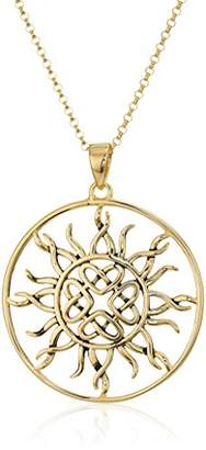 Celtic 18K Gold Plated Sterling Silver Knot Sun Medallion Pendant Necklace