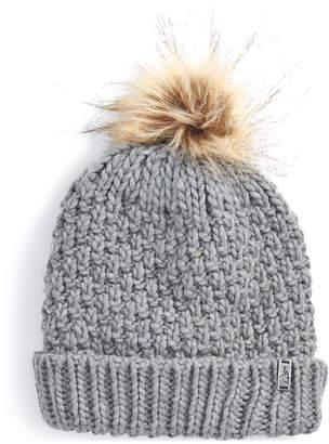 Ems Women Patti Chunky-Knit Faux-Fur Pom Pom Beanie