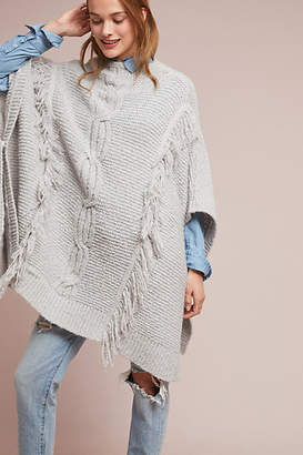 Anthropologie Fringed Cable-Knit Poncho