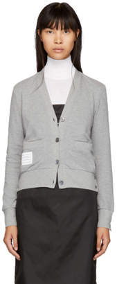 Thom Browne Grey Striped Classic V-Neck Cardigan
