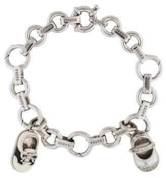 Aaron Basha 18K Diamond & Enamel Shoe Charm Bracelet