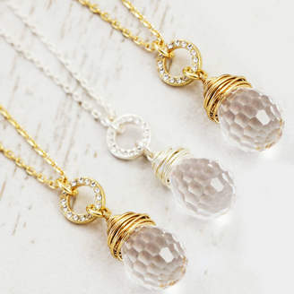 J&S Jewellery Bridesmaid Set Of Crystal Wrapped Pendant Necklaces