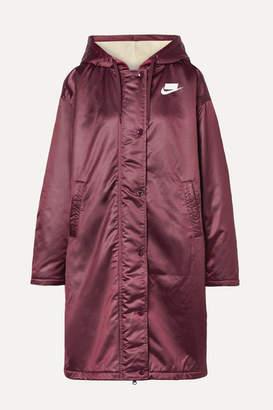 Nike Oversized Hooded Printed Padded Satin Jacket - Merlot