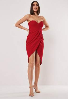 Missguided Red Bandeau Wrap Bodycon Midi Dress