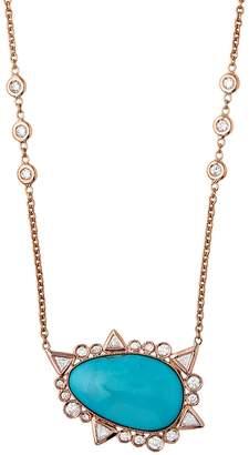 Jacquie Aiche Freeform Smooth Turquoise Trillion Diamond Bezel Necklace