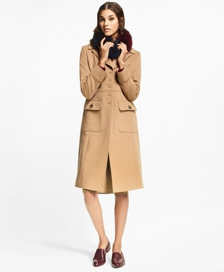 Brooks Brothers Petite Camel Hair Polo Coat